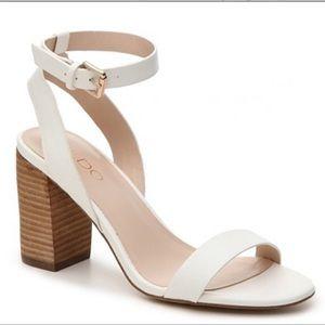 ALDO white strappy chunky heel sandals size 8